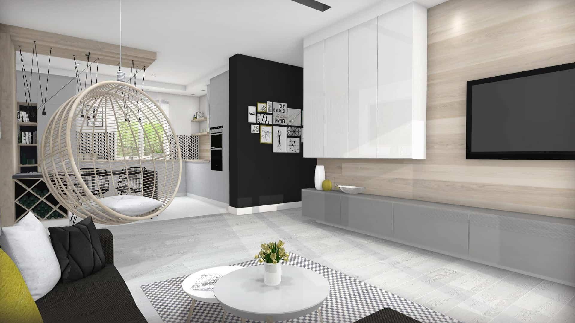 salon z otwarta kuchnią