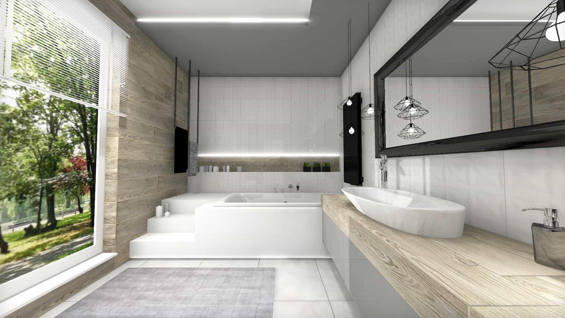 łazienka z wanną w podeście