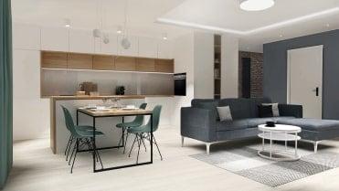 salon z kuchnią i przedpokojem