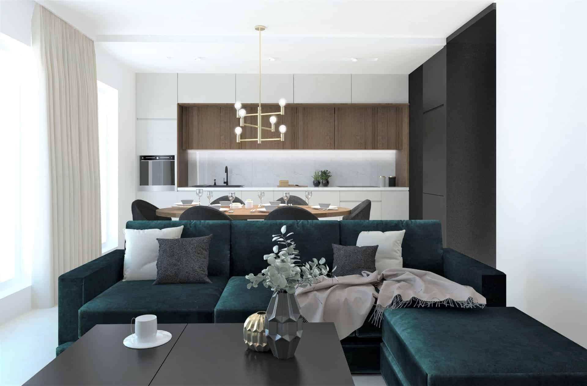 salon z zieloną kanapą 1