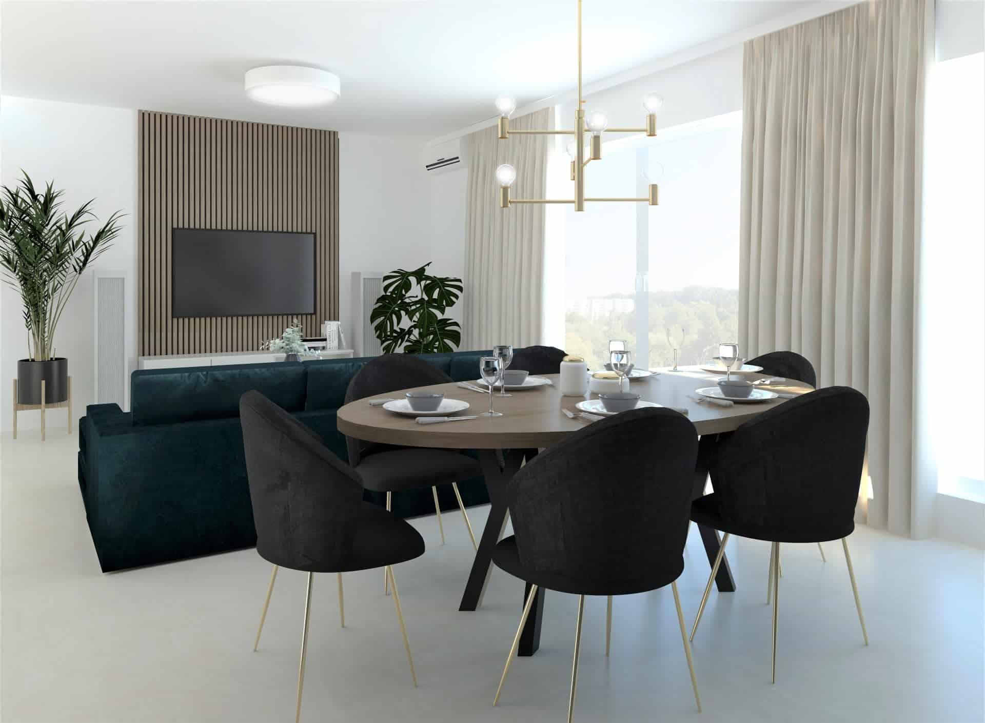 salon z zieloną kanapą 3