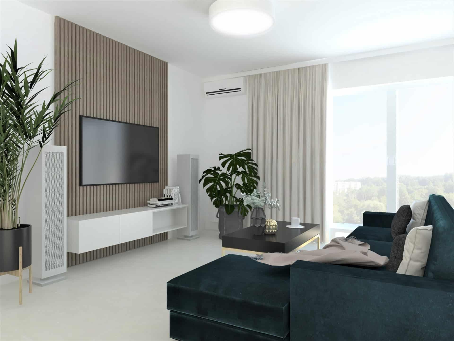 salon z zieloną kanapą 4