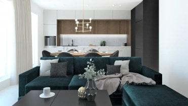 salon z zieloną kanapą front