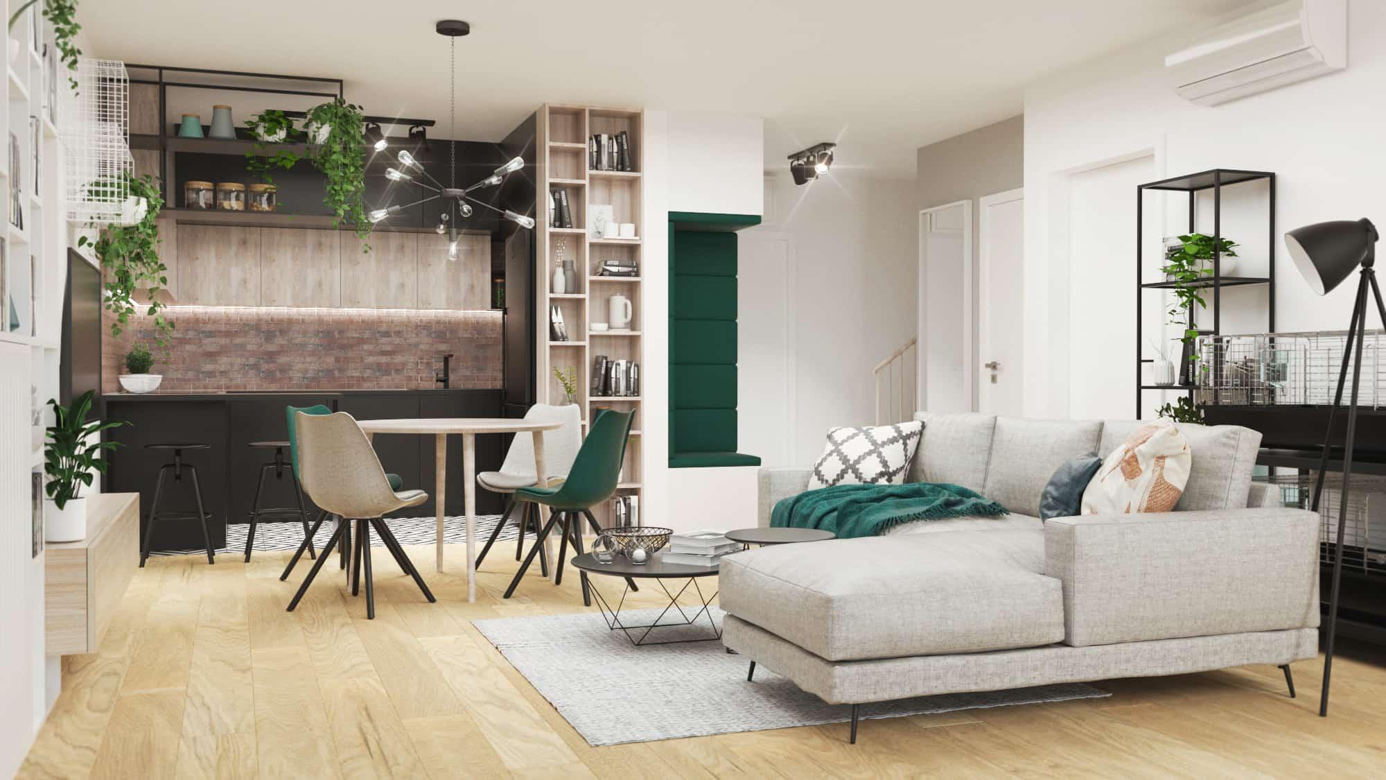 salon z otwarta kuchnia, industrialne mieszkanie