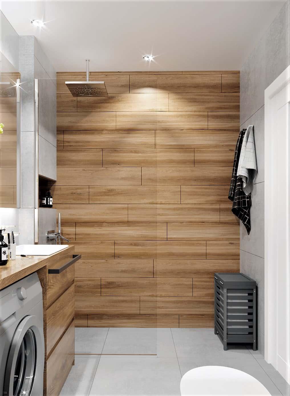 prysznic walk-in, plytki drewnopodobne