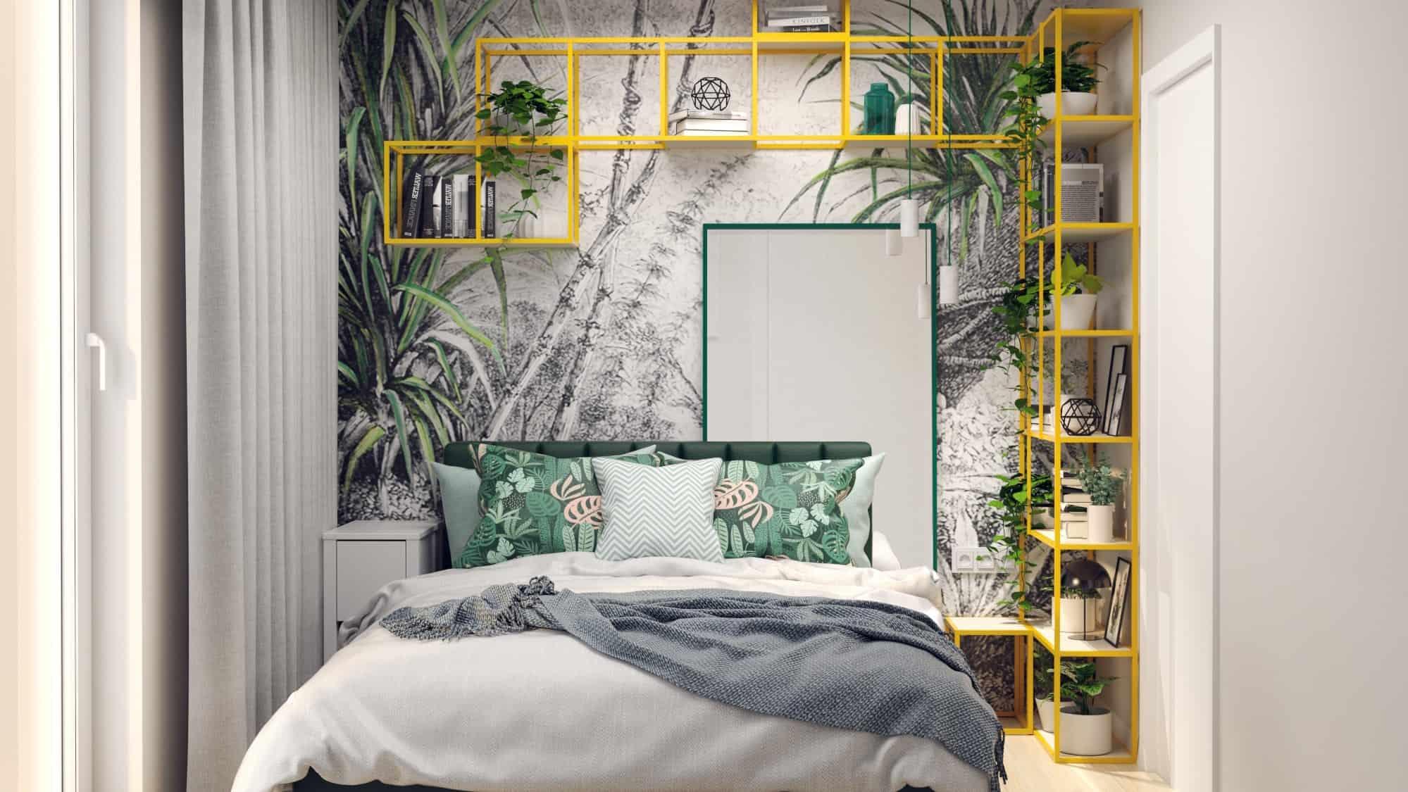 Sypialnia z żółtymi regałami