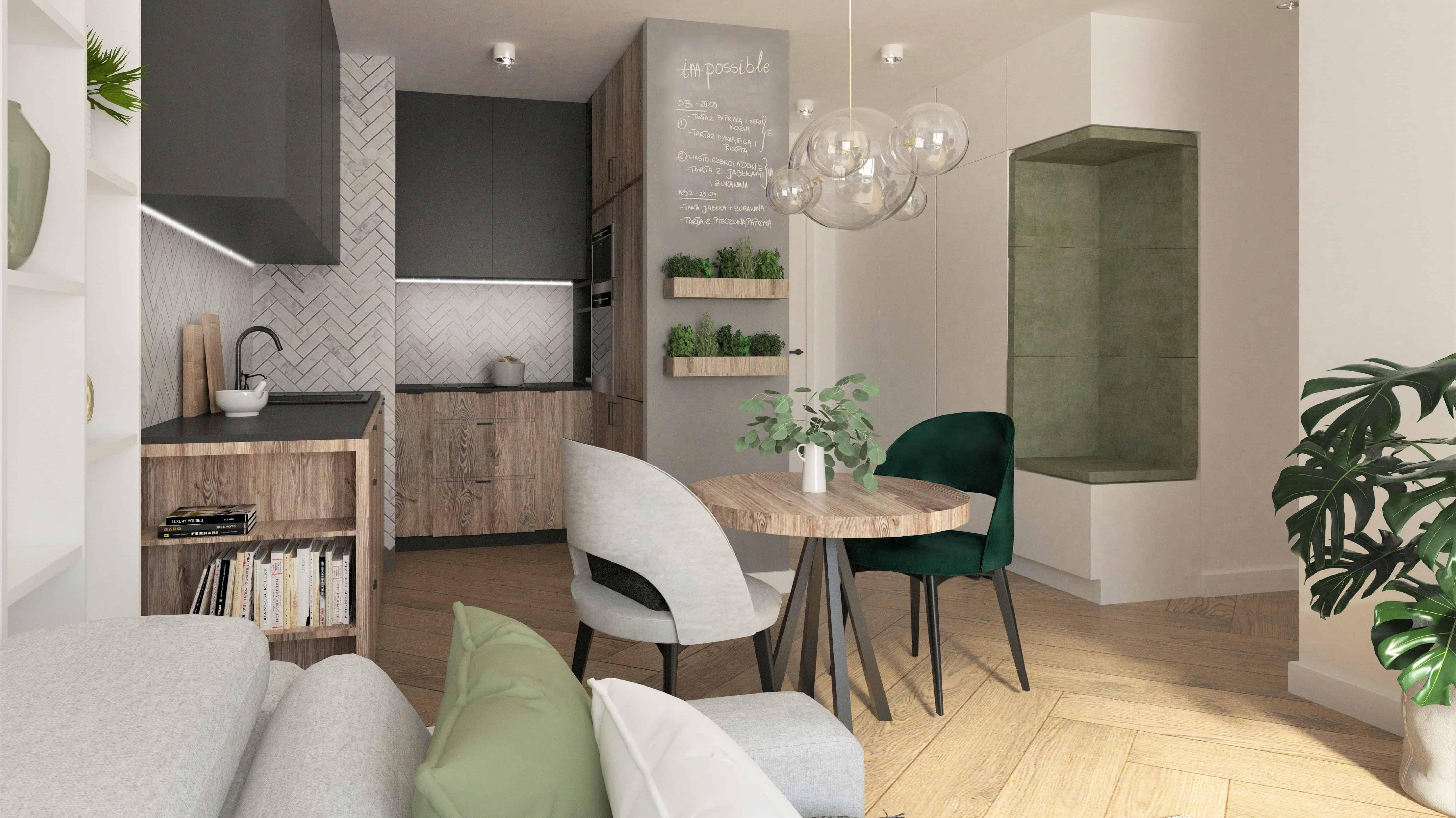 maly stol, salon z jadalnią, zielone dodatki, szafa z siedziskiem