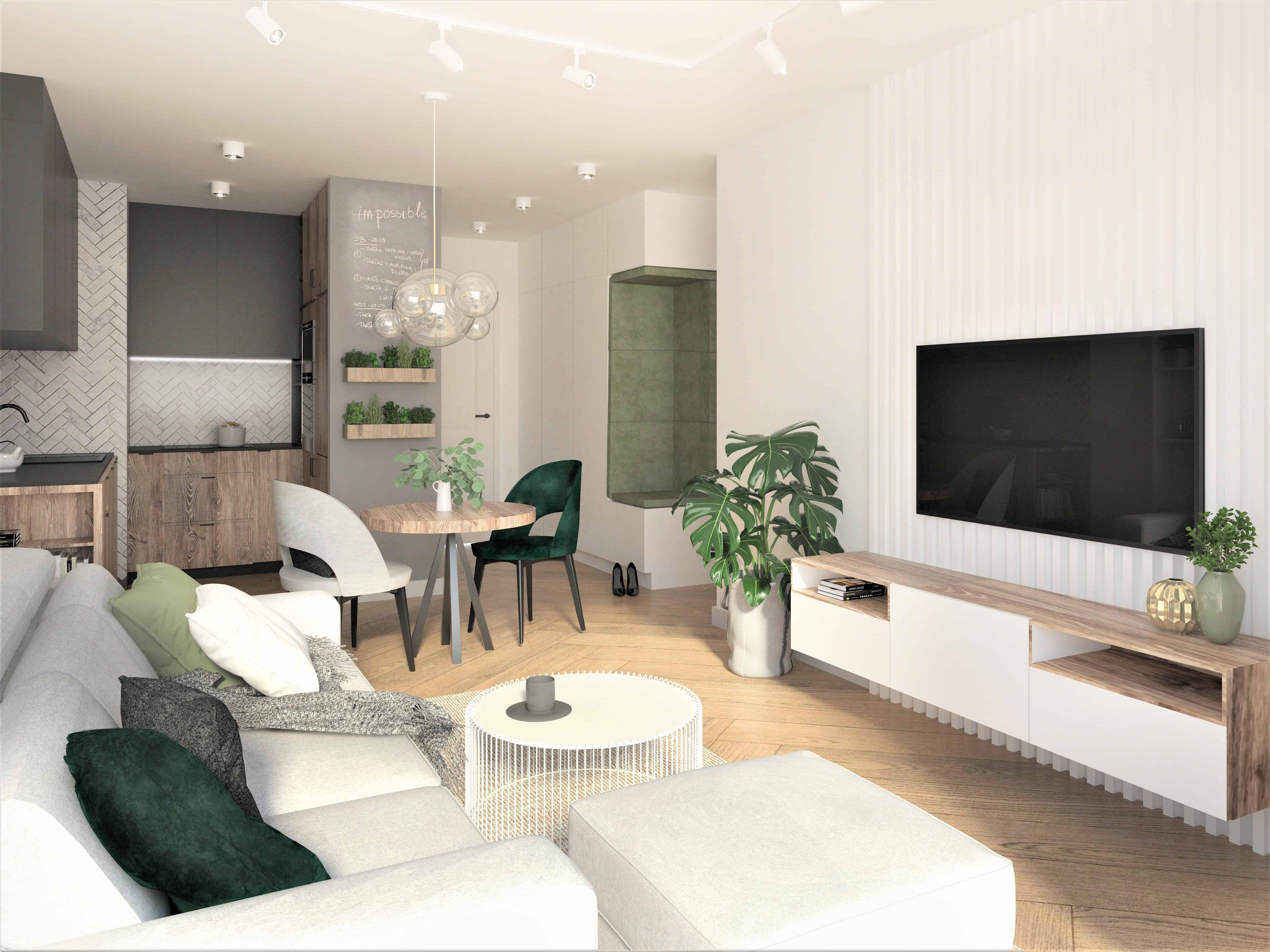 sciana z tv, otwarty salon, maly salon, male mieszkanie, rynek pierwotny